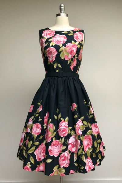 Audrey Dress Pink Rose Border