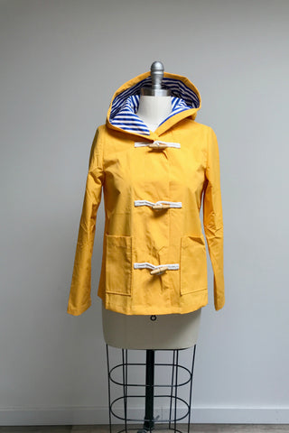 Yellow Hooded Toggle Raincoat