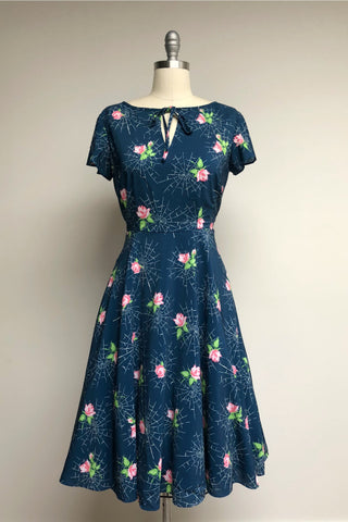 Navy Webs & Pink Roses Formosa Dress