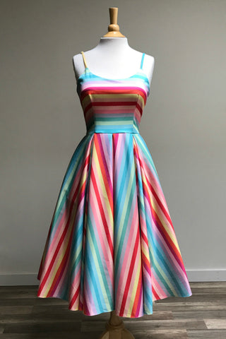 Priscilla Candy Stripe Midi Dress