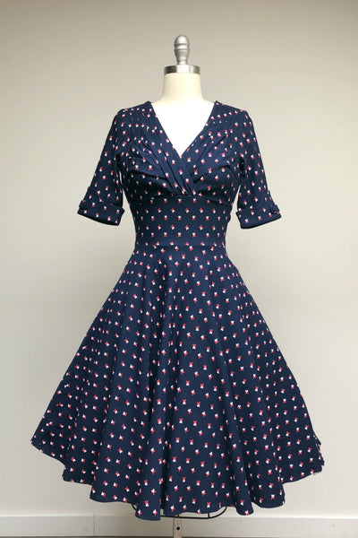Navy Windmill Print Delores Dress with Sleeves