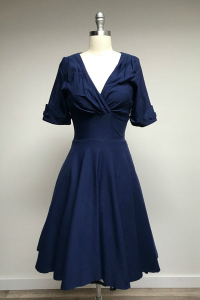 Navy Blue Delores Dress with Sleeves