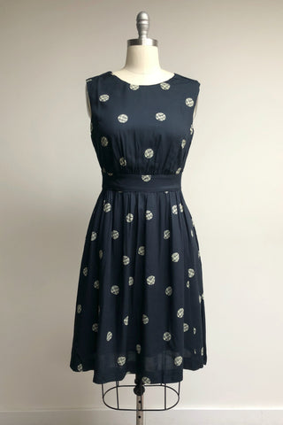 Lucy Navy Spot A Line Day Dress