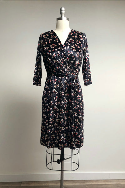Black Velvet Floral Wrap Dress