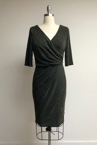 Millie Wrap Dress Black Gold Sparkle