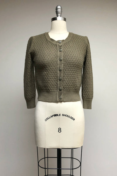 Cotton Crocheted Olive Green Sweater