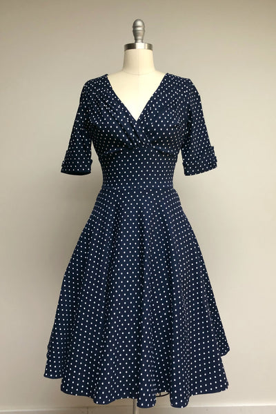 Navy & White Dot Delores Dress with Sleeves
