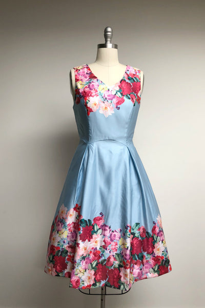 Watercolor Blue Teill Party Dress