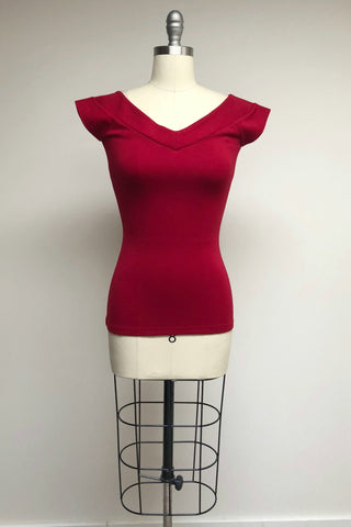 Dark Red Stretch Knit Cap Sleeve Deena Top