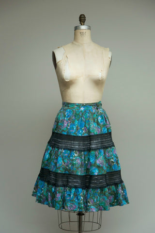 Water Lillies Cotton Skirt