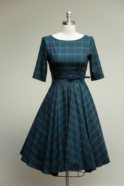 Hepburn Dress in Tartan Twill