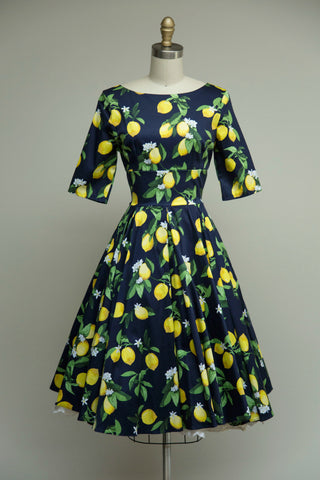 Hepburn Dress in Lemon Print