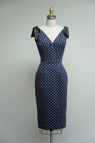 Ava Navy Polka Dot Pencil Dress