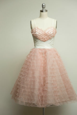Peach Ruffled Tulle Sweetheart Dress