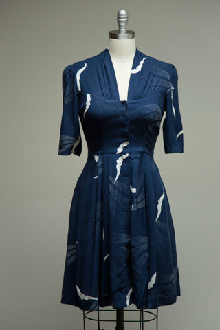 Rose Navy Button Down Dress Skyline Birds