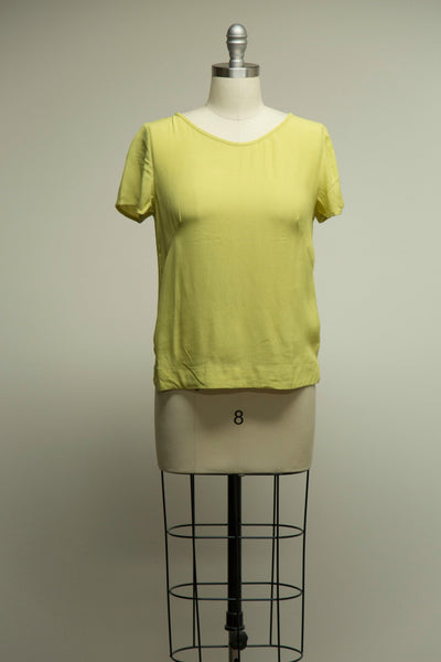 Etta Chartreuse Green Short Sleeved Top