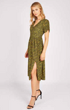 Caris Olive Bud Print Midi Dress