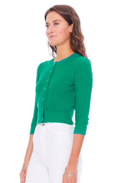 Cotton Crocheted Kelly Green Sweater