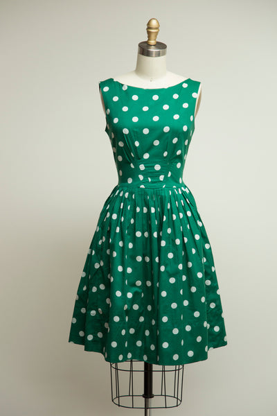 Abigail Dress Jungle Green Polka Dot