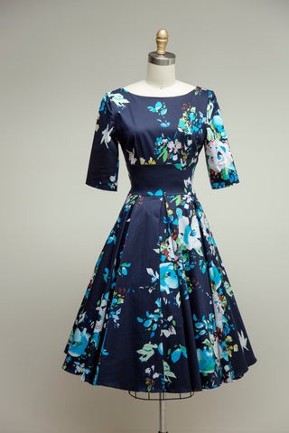 Hepburn Dress in Navy Seville