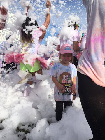 Ruby Pink Cat in Color Run Bubbles
