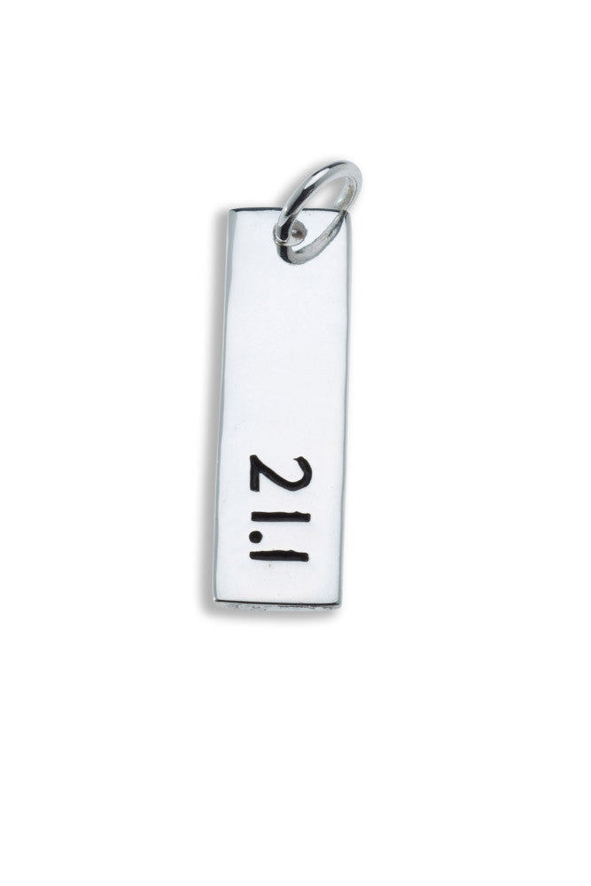 21.1km Sterling Silver Pendant - rectangular - Beyond The Medal