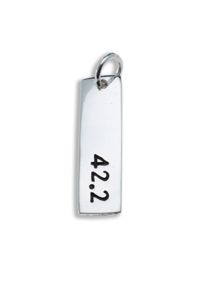 42.2km Sterling Silver Pendant - rectangular - Beyond The Medal