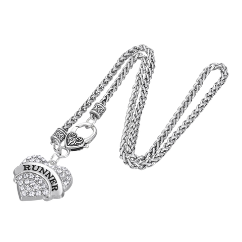 Runner Pave Heart Charm Necklace - Beyond The Medal