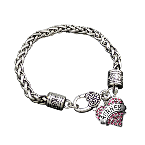 Runner Pave Heart Charm Bracelet - Beyond The Medal