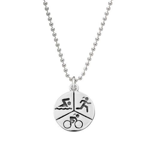 """RUN, SWIM, RIDE"" Silver Triathlon Necklace - Beyond The Medal"