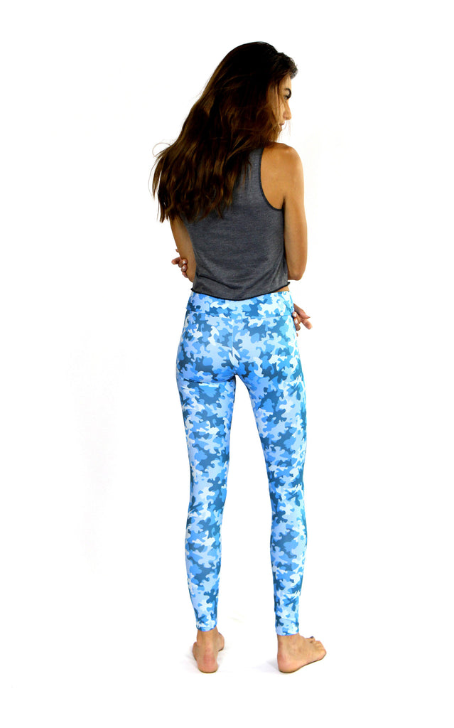 back of blue camo print leggings by PrintLeggings, Co