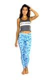 front of blue camo print leggings by PrintLeggings, Co