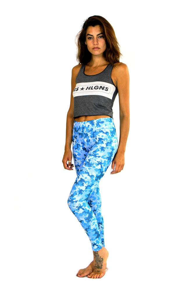 profile of blue camo print leggings by PrintLeggings, Co