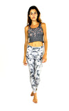 front of white camo print leggings by PrintLeggings, Co