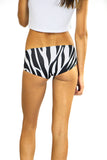 back shot of zebra print boy shorts by PrintLeggings, Co