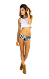 action shot of zebra print boy shorts by PrintLeggings, Co