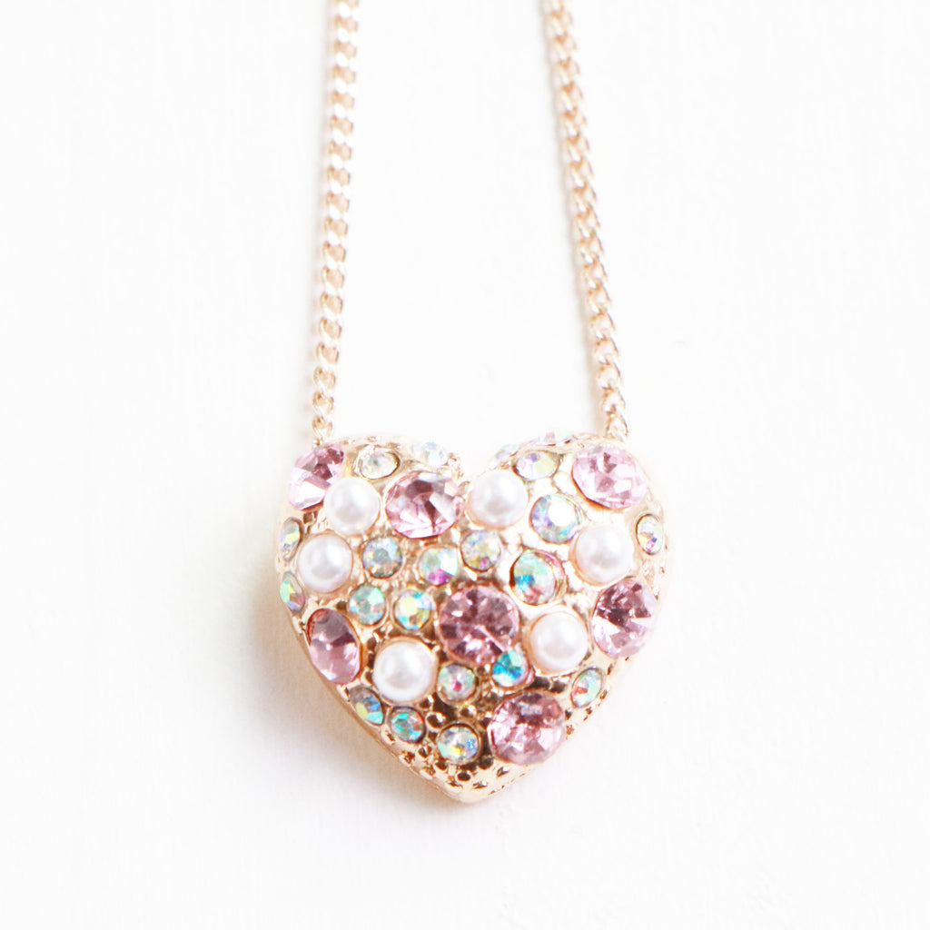 Sparking Heart Kids Necklace スパークリング ハートのキッズネックレス 40cm+5cmアジャスター / 子供 ジュエリー 子供用ネックレス キッズネックレス キッズジュエリー パーティ 発表会 / Lily & Ally リリーアンドアリー /