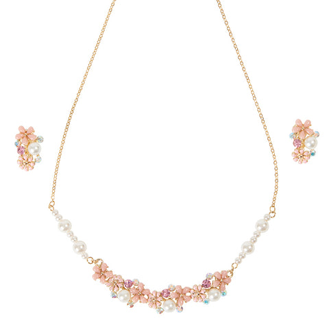 Pearl Pink Flowers Kids Necklace and Kids Earring Set ピンクパールフラワーのビブタイプ キッズネックレスとキッズイヤリングセット  40cm+5cmアジャスター / 子供 ジュエリー 子供用ネックレス キッズネックレス キッズジュエリー キッズアクセサリー パーティ 発表会 / Lily & Ally リリーアンドアリー / 【メール便可】