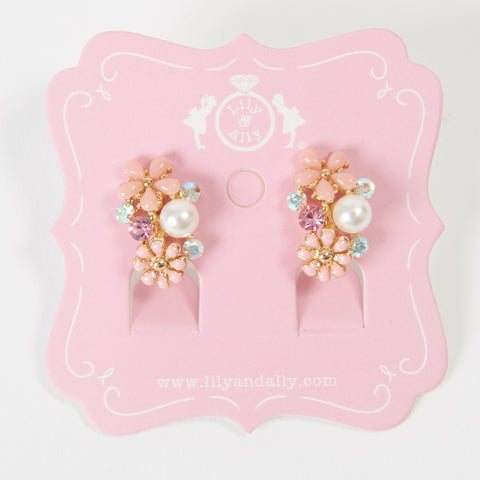 pearl pink flowers kids necklace and kids earring set ピンクパール