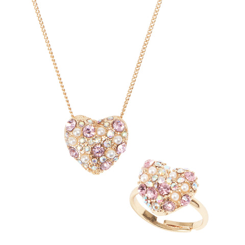 Sparkling Heart Kids Necklace & Ring Set スパークリング ハートのキッズネックレスとリングのセット / 子供 ジュエリー 子供用ネックレス キッズネックレス キッズジュエリー パーティ 発表会 / Lily & Ally リリーアンドアリー / 【メール便可】,クリスマスプレゼント,女の子,3歳,4歳,5歳,6歳,3歳,4歳,5歳,6歳,おもちゃ,小学生,プレゼント,クリスマス