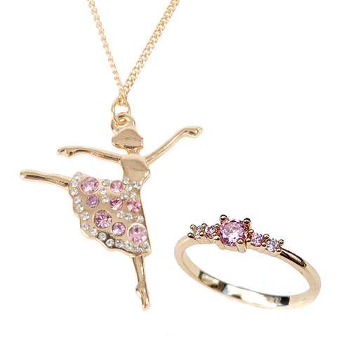 Dancing Ballerina Kids Necklace & Tiara Ring Gift Set バレリーナのキッズネックレスとティアラ キッズリングセット / 子供 ジュエリー 子供用ネックレス キッズネックレス キッズジュエリー キッズアクセサリー パーティ 発表会 / Lily & Ally リリーアンドアリー / 【メール便可】