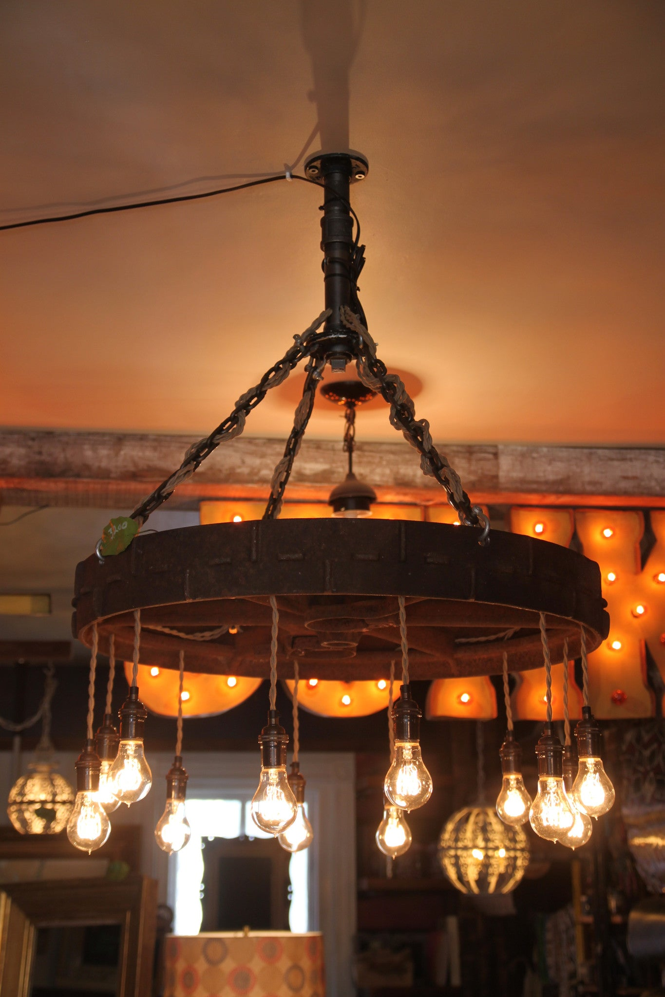 Reclaimed Barn wood Beam Chandelier with 8 Edison bulbs Funk