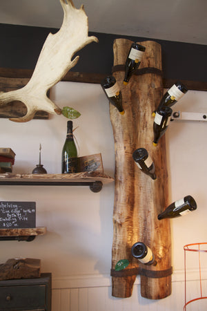 Live edge Wall Wine Rack from reclaimed wood