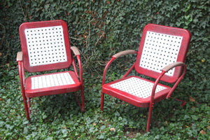 Retro Vintage Red + White Chairs