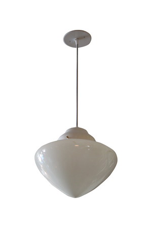 Small Stylish Vintage Milk Glass Pendant Light