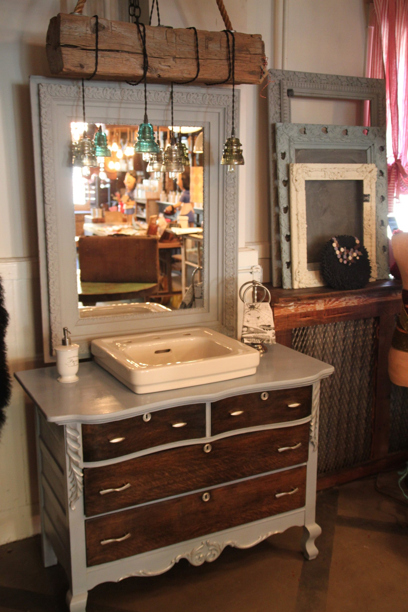 Reclaimed Bathroom Vanity with 1950s cast iron Kohler sink, finished in  Annie Sloan Chalk Paint - Reclaimed Vintage Brits Bathroom Vanity Using Annie Sloan Chalk