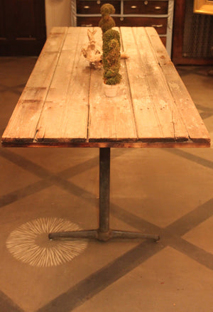 Reclaimed Barn Door Table with vintage diner legs