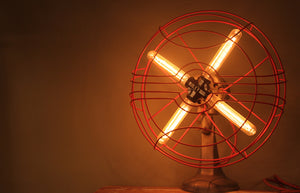 Vintage Desktop Fan Light, with Edison bulbs