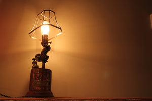 Repurposed Torch Light, Edison bulb, vintage shade
