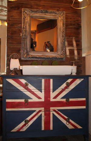 Reclaimed Vintage Brit Bathroom Vanity using Annie Sloan Chalk Paint